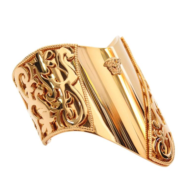 New VERSACE 24K Gold Plated Metal Cuff Bracelet  1