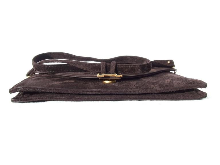 Black Exceptionnal and Rare Hermès Lydie Bag Clutch In Brown Doblis Suede GHW For Sale