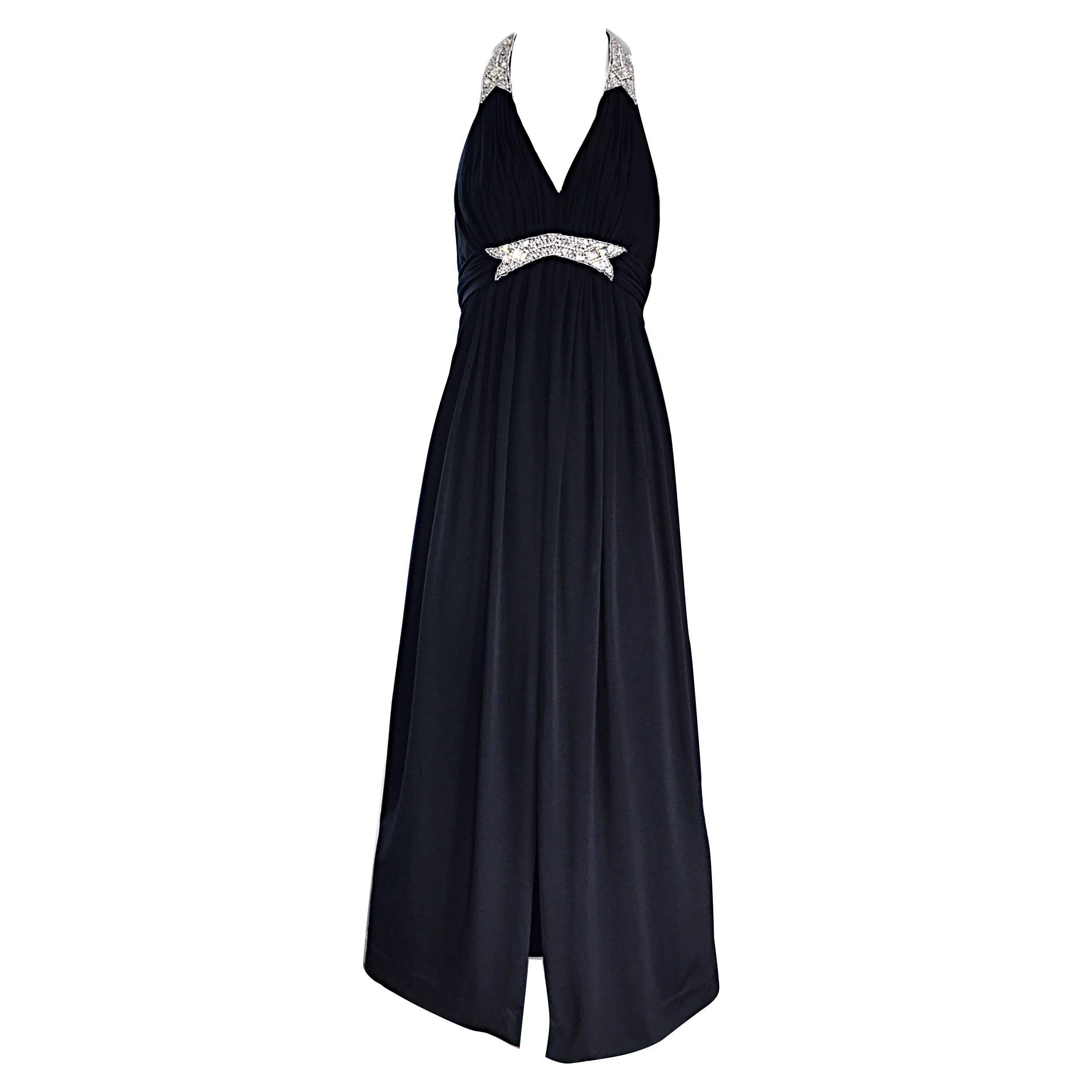 1970s Victoria Royal Black Jersey Rhinestone Encrusted 70s Grecian Halter Gown