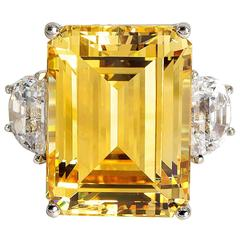Magnificent Faux 25 Carat Rectangular Step Cut Fancy Canary Yellow Diamond Ring
