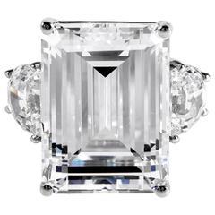 Magnificent Faux 25 Carat Rectangular Step Cut Bright White Diamond Ring