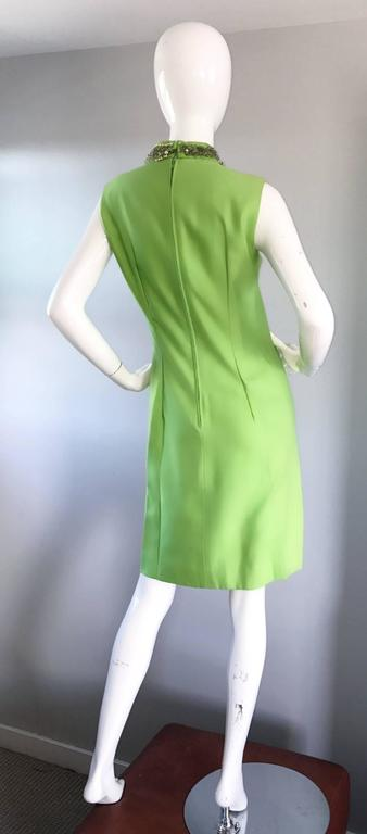 1960s Lime Green Vintage Beaded Sequined 60s Bright Mod