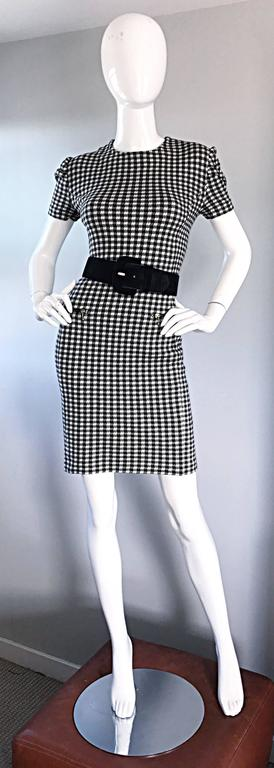 1990s Black and White Gingham Bodycon 90s Checkered Sexy Vintage Cotton Dress  For Sale 3