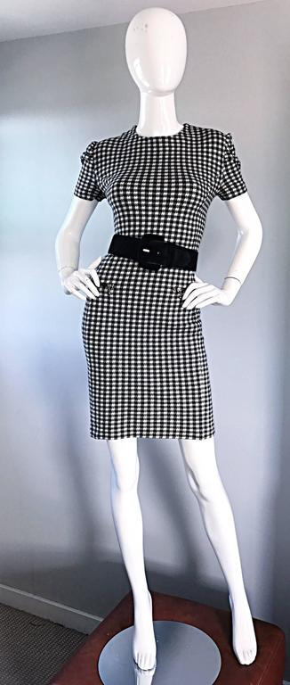 1990s Black and White Gingham Bodycon 90s Checkered Sexy Vintage Cotton Dress  For Sale 2