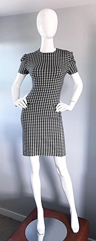 1990s Black and White Gingham Bodycon 90s Checkered Sexy Vintage Cotton Dress  In Excellent Condition For Sale In Chicago, IL