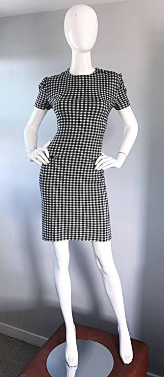 Women's 1990s Black and White Gingham Bodycon 90s Checkered Sexy Vintage Cotton Dress  For Sale