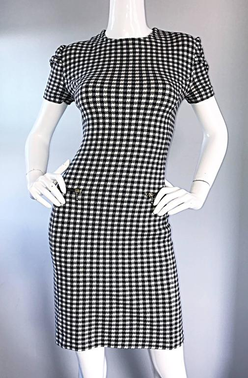 1990s Black and White Gingham Bodycon 90s Checkered Sexy Vintage Cotton Dress  For Sale 1