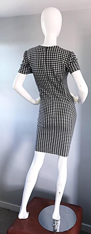 1990s Black and White Gingham Bodycon 90s Checkered Sexy Vintage Cotton Dress  For Sale 4