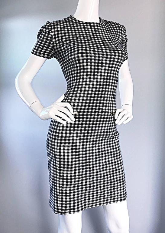 1990s Black and White Gingham Bodycon 90s Checkered Sexy Vintage Cotton Dress  For Sale 5
