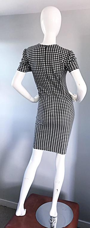 1990s Black and White Gingham Bodycon 90s Checkered Sexy Vintage Cotton Dress  For Sale 6