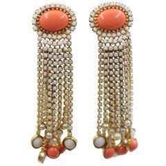 KJL Kenneth J Lane Vintage Long  Dangle Earrings coral,pearland strass