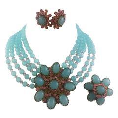 1960s Miriam Haskell signed Aqua & Pink Murano Glass Beads  Demi Parure