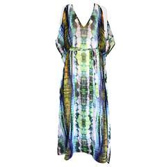 1970s Biba Tie Dye Vintage ' Cold Shoulder ' 70s Vintage Boho Caftan Maxi Dress