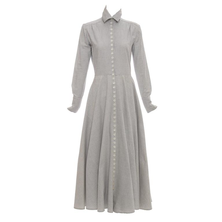 Norma Kamali Mother Of Pearl Button Front Cotton Dress, Circa 1980s