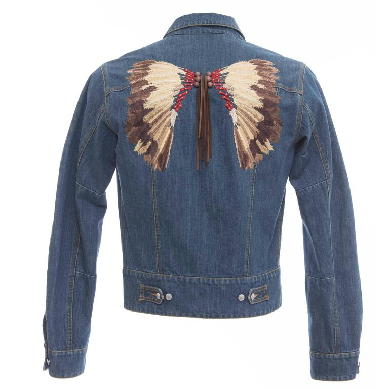 John Galliano Men S Denim Jacket With Embroidered Back And Leather