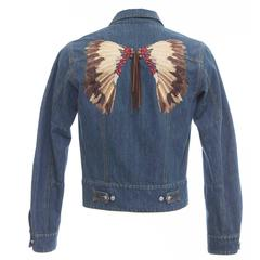 John Galliano Men's Denim Jacket With Embroidered Back And Leather Fringe