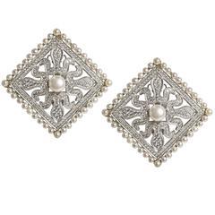 Large Edwardian Style Faux Diamond Pearl Earclips