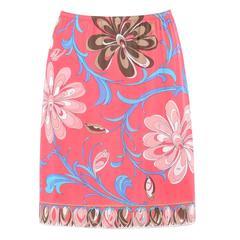 EMILIO PUCCI c.1960's Formfit Rogers Pink Multicolor Floral Print Slip Skirt