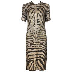 1970's Halston Gold & Black Sequin Tiger or Zebra Print Evening Dress