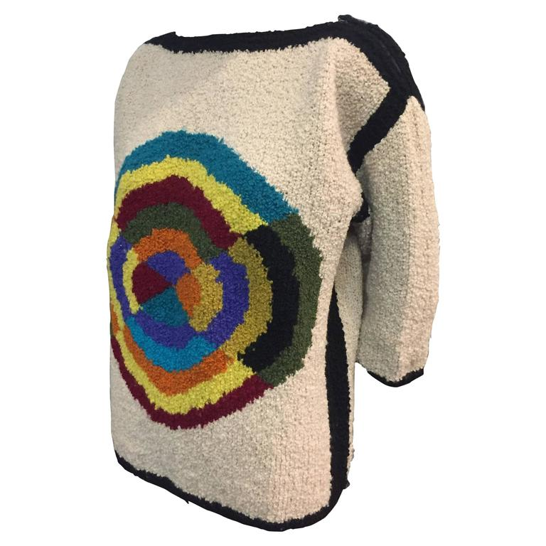 1960 S Italian Hand Knit Sweater W Colorful Abstract
