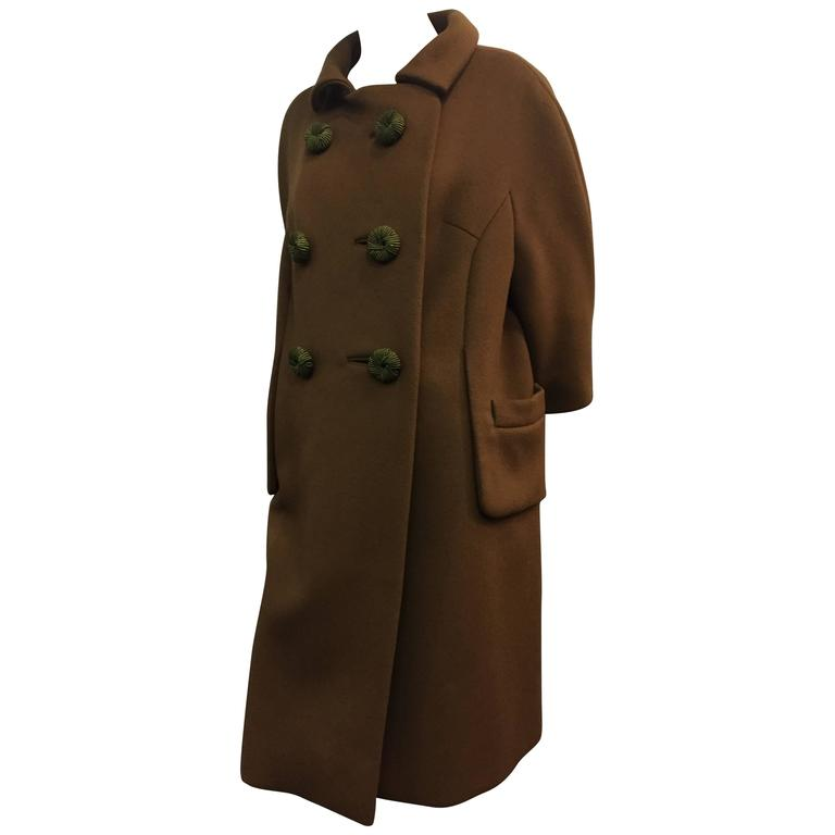 1960's Mod Olive Wool Coat With Braided Buttons