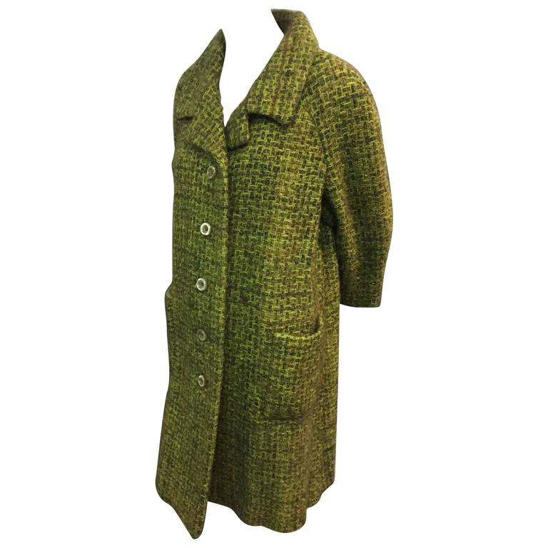 1960's Saks Moss Green Wool Mohair Coat