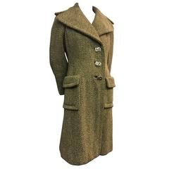 1960's Pauline Trigere Fitted Tweed Coat With Abstract Metal Buttons