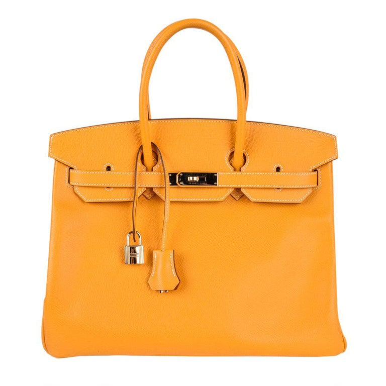 38cd43bbe0a Hermes Jaune D Or Yellow Candy Limited Edition Epsom Permabrass Birkin 35  Bag For Sale