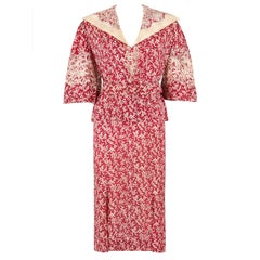 MADELEINE VIONNET c.1930's Numbered Burgundy Cream Dress Jacket Belt Set