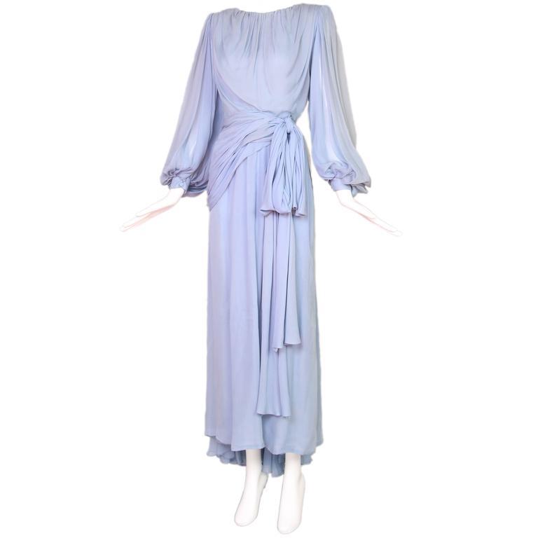 1987 A/H Haute Couture Yves Saint Laurent Chiffon Evening Gown No.63352