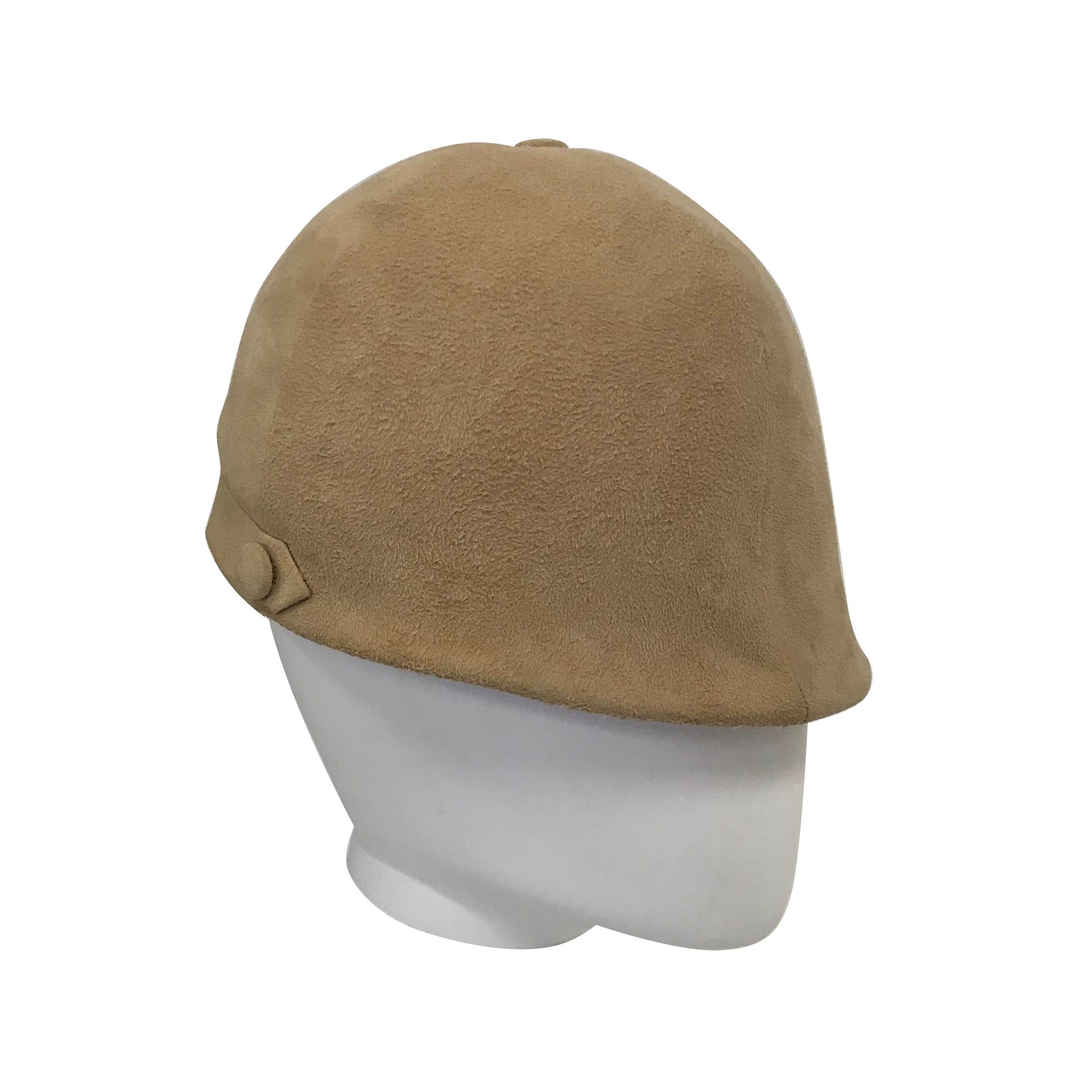 Camel Colored Suede Equestrian Hat, 1960s