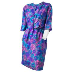 50s Silk Painterly Bolero and Dress Set