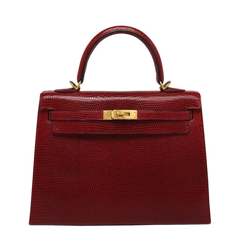 Hermes Kelly 25cm Bag Rouge Lizard Gold Hardware