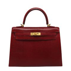 Hermes Kelly 25cm Bag Rouge Lizard Gold Hardware