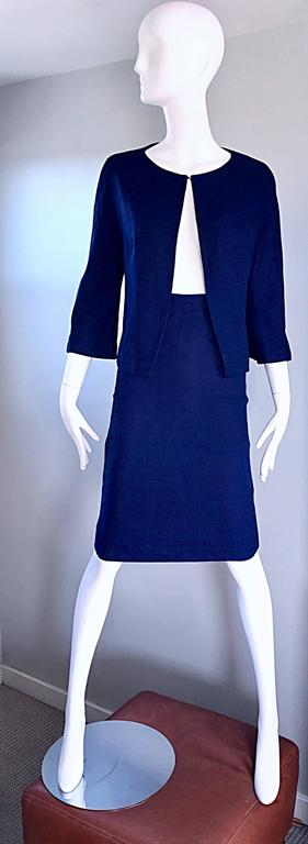 1960s Lilli Ann Navy Blue Vintage 60s Wool Classic and Chic Skirt Suit Ensemble  In Excellent Condition For Sale In San Francisco, CA
