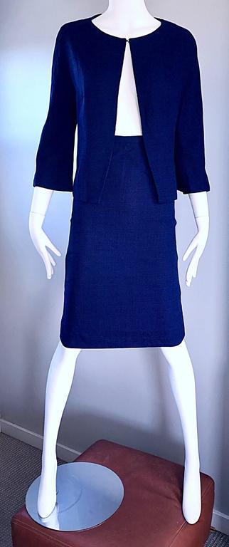 1960s Lilli Ann Navy Blue Vintage 60s Wool Classic and Chic Skirt Suit Ensemble  For Sale 1