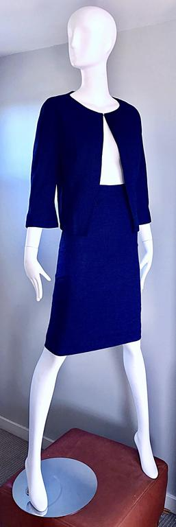 Women's 1960s Lilli Ann Navy Blue Vintage 60s Wool Classic and Chic Skirt Suit Ensemble  For Sale