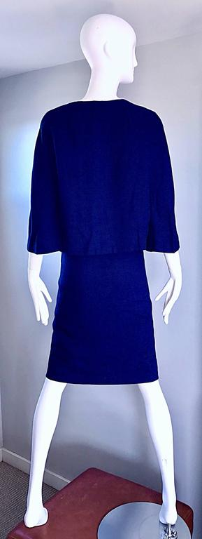 1960s Lilli Ann Navy Blue Vintage 60s Wool Classic and Chic Skirt Suit Ensemble  2