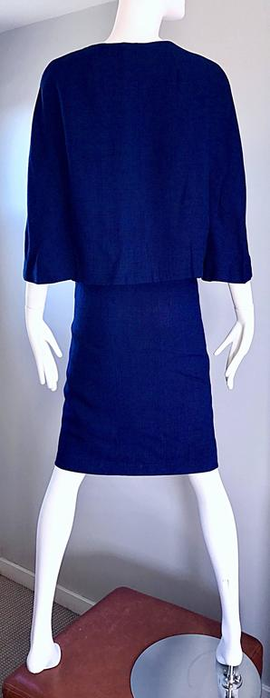 1960s Lilli Ann Navy Blue Vintage 60s Wool Classic and Chic Skirt Suit Ensemble  For Sale 2