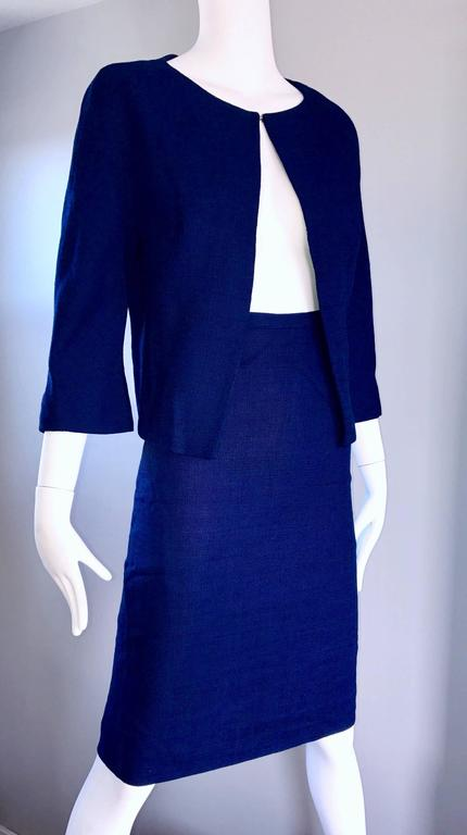 1960s Lilli Ann Navy Blue Vintage 60s Wool Classic and Chic Skirt Suit Ensemble  For Sale 3