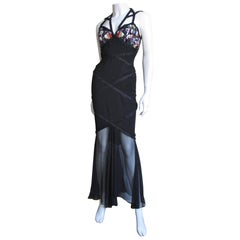 1990s Karl Lagerfeld Vintage Plunging Beaded Halter Dress