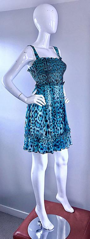 New Giambattista Valli Blue Leopard Print Silk Chiffon Semi Sheer Babydoll Dress In New never worn Condition For Sale In San Francisco, CA