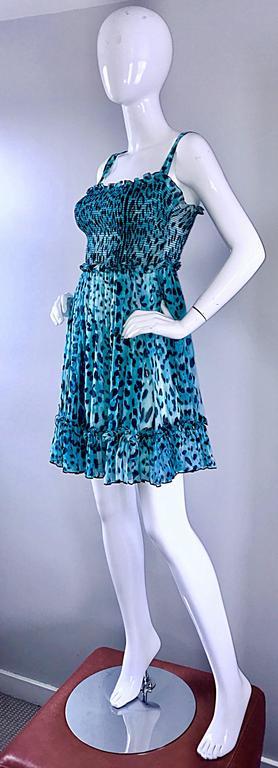 New Giambattista Valli Blue Leopard Print Silk Chiffon Semi Sheer Babydoll Dress For Sale 2
