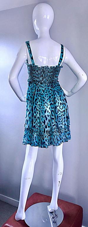 New Giambattista Valli Blue Leopard Print Silk Chiffon Semi Sheer Babydoll Dress For Sale 1