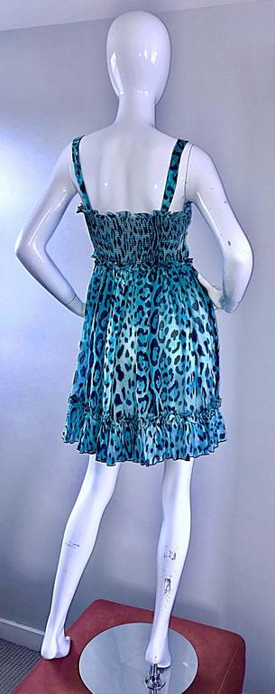 New Giambattista Valli Blue Leopard Print Silk Chiffon Semi Sheer Babydoll Dress For Sale 3