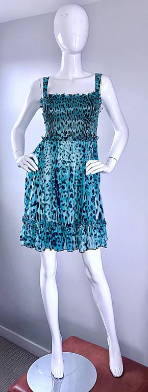 Women's New Giambattista Valli Blue Leopard Print Silk Chiffon Semi Sheer Babydoll Dress For Sale