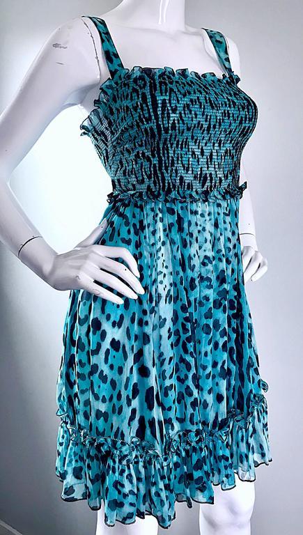 New Giambattista Valli Blue Leopard Print Silk Chiffon Semi Sheer Babydoll Dress For Sale 4