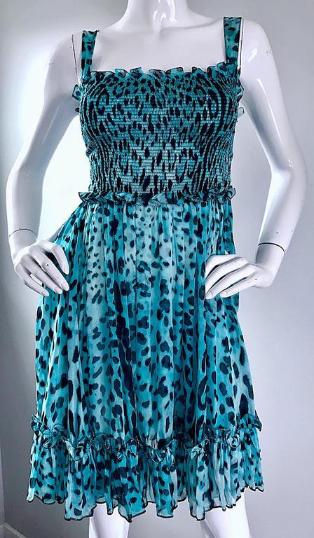 New Giambattista Valli Blue Leopard Print Silk Chiffon Semi Sheer Babydoll Dress For Sale 5