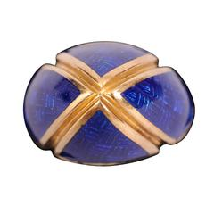 Striking Signed 18k Gold and Blue Enamel Dome Ring