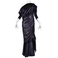Yves Saint Laurent Couture Metallic Velvet Gown